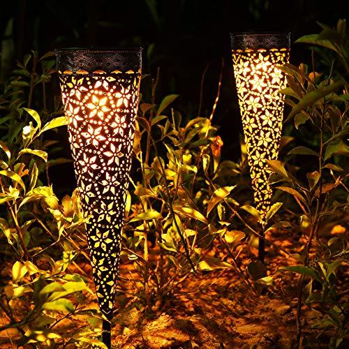 Metall Solarlampen für Außen Garten, 2 Stück LED Solarleuchten Garten mit IP65 Wasserdicht, Orientalisch Warmweiß Solar Gartenleuchten Deko für Außen Terrasse Rasen Weg Balkon
