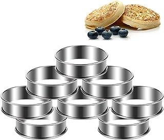 FANTESI Lot de 8 anneaux à gâteau ronds en acier inoxydable argenté pour cuisine et pâtisserie (8 x 2,5 cm)