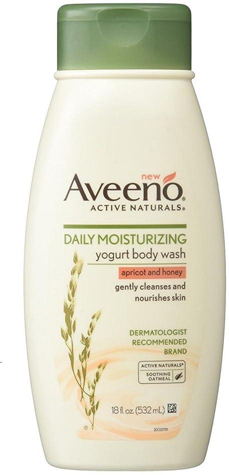 AVEENO Daily Moisturizing Yogurt Body Wash, Apricot and Honey 18 oz (2 Pack)