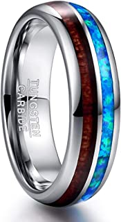 6mm 8mm Hawaiian Koa Wood and Blue Opal Inlay Tungsten Carbide Ring Domed Wedding Band Comfort Fit Size 6-14