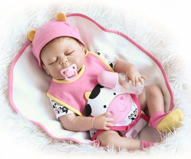 Decdeal Mdchen Reborn Baby Puppe Silikon Babypuppe 55cm Augen Schlieen