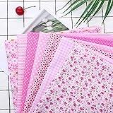 MoonyLI Baumwollstoff Patchwork Stoffe 50 cm x 50 cm,Rosa, DIY Gewebe Baumwolltuch Stoffpaket,für Handarbeiten, Basteln, Quilten, Baumwolle 7 Stück