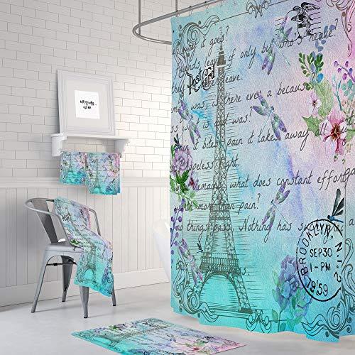 Toallas de baño de acuarela París opcional de la Torre Eiffel Postal de la Tarjeta de Libélula Floral