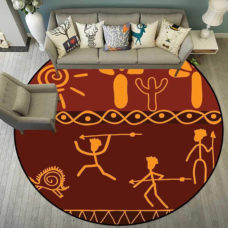 Circularity mat for Girls Bedroom Round Indoor Floor mat Entrance Circle Floor mat for Office Chair Wood Floor Circle Floor mat Office Round mat for Living Room Pattern 4'11  Diameter