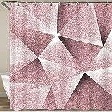 Cortina de Ducha, patrón geométrico Angular Fluorescente Rosa de fantasía, Tela de poliéster, Ganchos para Cortinas de baño Impermeables incluidos