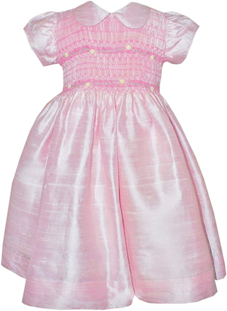 Details about  /Apple Green Silk Dupioni Hand Smocked Baby Girls Dress 3m 6m Sleeveless 16740