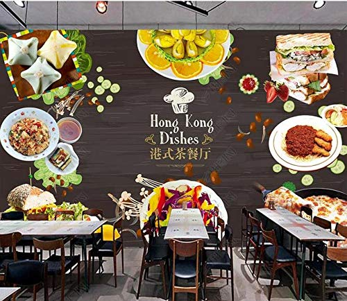 Papel Tapiz Fotográfico 3D Personalizado Restaurante De Té Estilo Hong Kong Comedor Gourmet Cocina Restaurante Fondo Pared-400Cmx280Cm