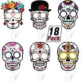 18 Máscaras de Mano del Día de los Muertos Máscaras Faciales de Calavera de Azúcar Accesorios de Disfraz del Día de los Muertos Decoraciones de Halloween Suministros de Fiesta de Calavera Colorida