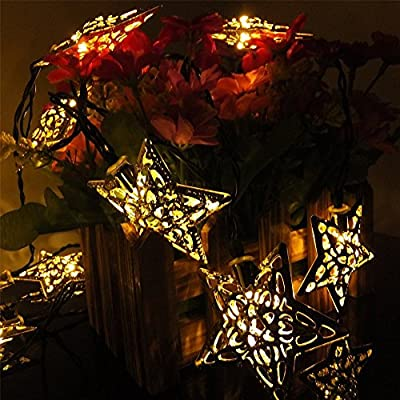 JOJOO Solar?Powered 20 LED 16ft String Lights Metal Ornament LED Lights for Garden, Wedding, Party, Outdoor and Christmas, Amber