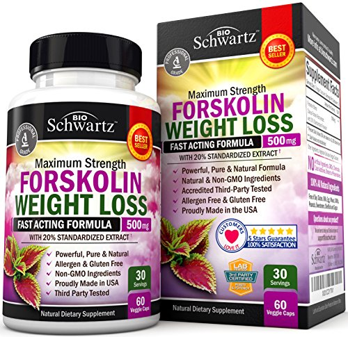Forskolin Extract for Weight Loss. Pure Forskolin Diet Pills & Belly Buster Supplement. Premium Appetite Suppressant, Metabolism Booster, Carb Blocker & Fat Burner for Women and Men Coleus Forskohlii