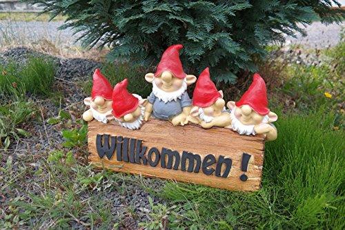 Gartenzwerg mit Willkommen Schild 40 cm grau Figur Garten Zwerg TOP