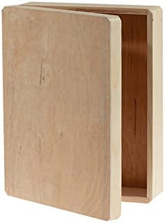 """Darice Unfinished Wooden, 12"""" x 9.125"""" x 3.25"""" – DIY Wood Box with Hinge, 9.125"""" x 12"""" x 3.25"""", Natural"""