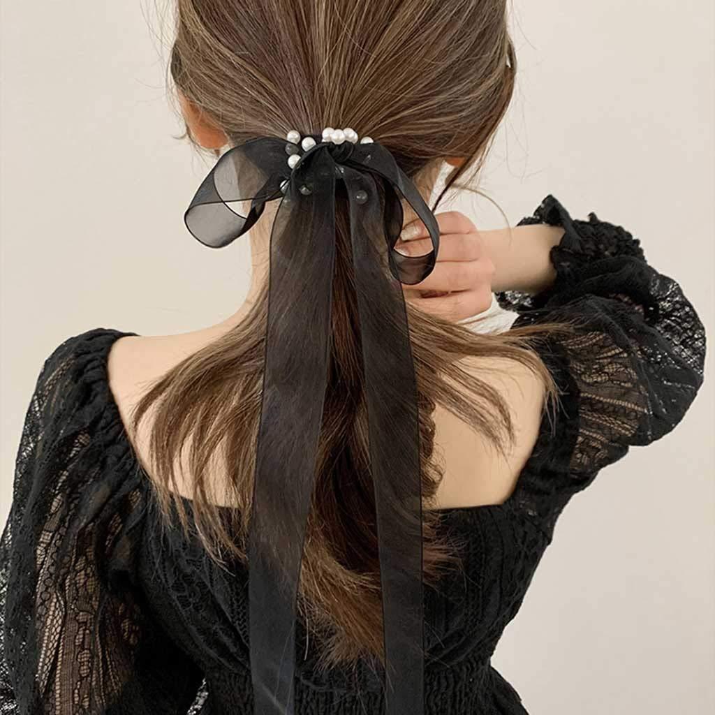 EEKLSJ 1pcs New Women Solid Color Pearl Organza Headband Net Gauze Material Hair Wrap Elastic Hair Bands Hair Accessories