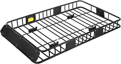 XCAR Roof Rack Carrier Basket Rooftop Cargo Carrier with Extension Black Car Top Luggage Holder 64