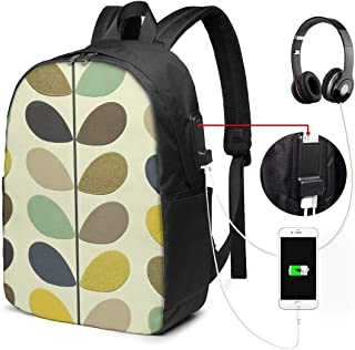 Orla Kiely Wallpaper Travel Laptop Backpack,Business Anti Theft Slim Durable Laptops Backpack with USB Charging Port,Water Resistant College School Computer Bag for Women & Men