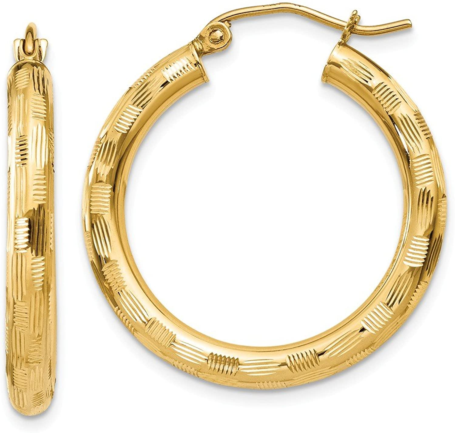 Beautiful Yellow gold 14K Yellowgold 14k Textured Hoop Earrings