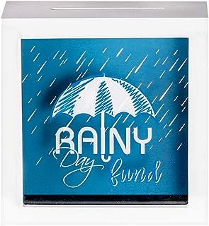 UMICAL 6x6 Inch Rainy Day Fund White Shadow Box Frame Wood Fund Savings Bank Money Box Frame Travel Fund Box