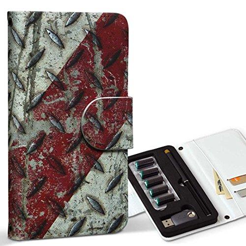 スマコレ ploom TECH プルームテック 専用 レザーケース 手帳型 タバコ ケース カバー 合皮 ケース カバー 収納 プルームケース デザイン 革 ユニーク メタル カーボン 001122