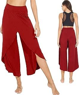 Women's Elegant Palazzo Split Flared Skirt Bootleg Pants Boho Wide Leg High Waist Loose Trousers
