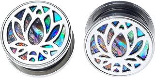 soscene Stainless Steel Lotus Abalone Back Screw Back Ear Plugs Gauges Sold in Pairs