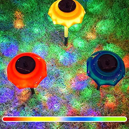 QXXZ Solar Umbrella Lights Outdoor,New 4 Pack led Colorful Gradient Garden Umbrella Lights Solar Powered Path Lights Waterproof LED Lighting Decorative for Lawn Yard Ground yellwo
