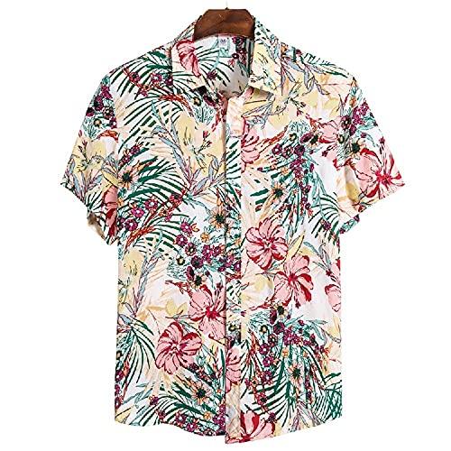 Shirt Playa Hombre Verano Estampado Transpirable Moda Hombre Shirt Ocio Cuello Kent Tapeta Manga Corta Hombre Shirt Ligera Hawaii Surf Hombre T-Shirt CS136 XXL