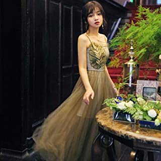 ABDKJAHSDK Summer New Fashion Floral Embroidery Braces Ladies Long Gauze Dress