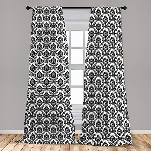 "Lunarable Damask 2 Panel Curtain Set, Antique Classic Damask Flowers Pattern Traditional Artwork Design Monochrome, Lightweight Window Treatment Living Room Bedroom Decor, 56"" x 84"", White Black"