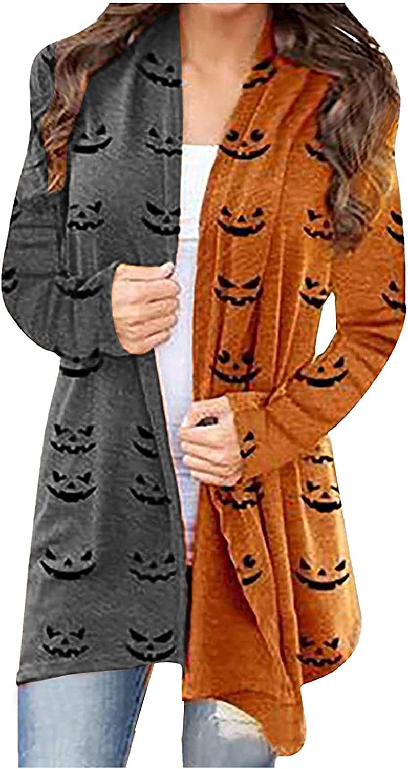 UOCUFY Halloween Cardigan for Women, Womens Comfy Coat Cute Pumpkin Cat Ghost Graphic Tops Long Sleeve Open Front Blouse