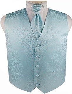 Men's Wedding Microfiber Tuxedo Floral Waistcoat and Cravat Set