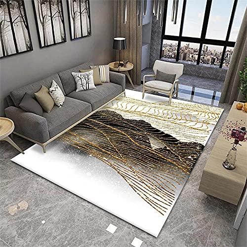 Antideslizante Alfombras Dormitorio Juvenil Diseño gráfico Abstracto de Rayas de Oro Blanco Gris Dorado Alfombras De Habitacion 200X300cm