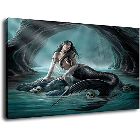 Amazon Com Wall26 Fantasy Beautiful Woman Mermaid With Fish Tail And Long Developing Hair Swimming In The Sea Under Water Canvas Art Wall Art 24 X 24 Posters Prints