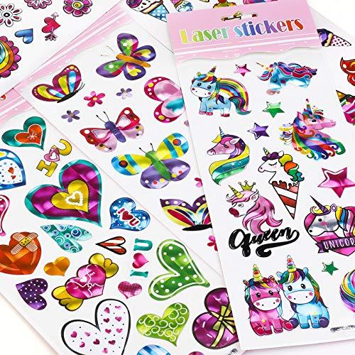 Hifot Pegatinas Infantiles, Pegatinas Scrapbooking Stickers Juegos infantiles Regalos Para Niños,Estilo de Pegatina de Flor de Sirena Unicornio 10 Hojas(Aleatorio)