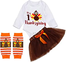 My First Thanksgiving Outfit Newborn Baby Girl Long Sleeve Romper Tops+ Pants + Hat + Headband Clothes Set 4Pcs