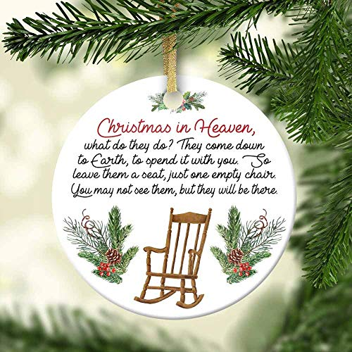 DKISEE Unique Embellishments Round Shaped Ceramics Porcelain Ornament Christmas In Heaven Chair Ornament Holiday Decor