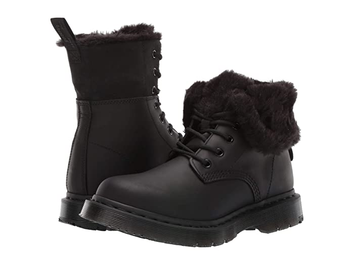 Vintage Boots- Buy Winter Retro Boots Dr. Martens 1460 Kolbert Wintergrip Black Snowplow WaterproofBlack Waxy Suede Waterproof Womens Boots $154.95 AT vintagedancer.com