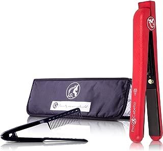 ProCabello Classic Hair Straightener + Royale Black Professional Hair Straightening Comb + Royale Black Licorice Heat Mat (Red Scarlett)