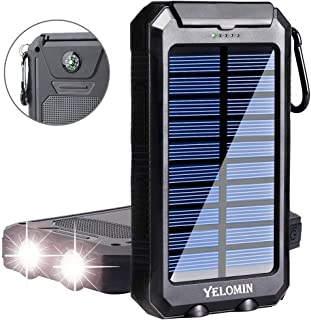 Phone Solar Charger,Yelomin 20000mAh Portable Outdoor Waterproof Mobile Power Bank,Camping External Backup Battery Pack Dual USB 5V 1A/2A Output 2 Led Light Flashlight with Compass