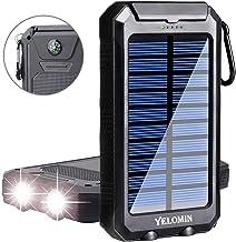 شارژر تلفن خورشیدی تلفن ، موبایل Yelomin 20000mAh قابل حمل ضد آب در فضای باز ضد آب ، موبایل ، کمپینگ باتری پشتیبان خارجی بسته دوگانه USB 5V 1A / 2A خروجی 2 چراغ قوه با چراغ قوه