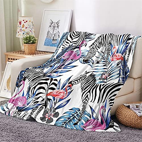 Chickwin Kuscheldecke Flanell, 3D Flamingo Drucken Flanelldecke Wohndecke Warm Decke Flauschige TV-Decke Mikrofaserdecke Bettüberwurf Tagesdecke Sofadecke (Schwarzes Zebra,80x120cm)