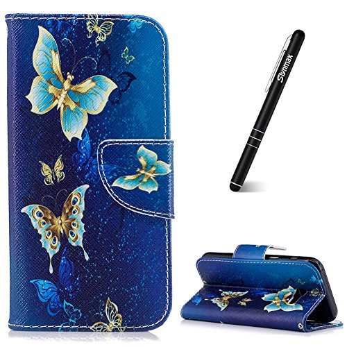 Slynmax Schutzhülle für Galaxy A3 2017 Blau, Blumen PU Ledertasche Wallet Case Handyhülle Kompatibel mit Samsung Galaxy A3 2017 A320 Hülle Klapphülle Lederhülle Handytasche Stand Kartenfächer