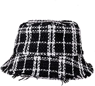 9cf8335b4fe angel3292 Fashion Women Plaid Print Folding Fisherman Hat Breathable Outdoor  Bucket Cap Black