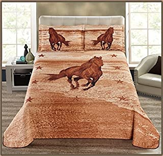 Elegant Home 3-piece Equestrian Wild Western Horse with Texas Star Cowboy Cabin Lodge Quilt Bedspread Coverlet Beige Brown # Western Horse (King)