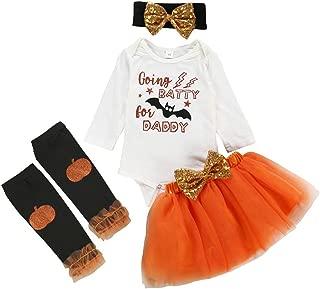 4Pcs Toddler Baby Kids Girls Halloween Pumpkin Costumes Long Sleeve Romper Solid Tutu Skirt Outfits Set