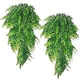 2 PCs Artificial Plants Set - Detachable Artificial Hanging Plants Set for Wall Indoor Hanging Baskets Wedding Garland Decor (Green)