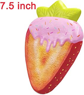 7.5inch Soft Slow Rising Squishies, Giant Scented Food Squishy Toys Jumbo Kawaii Strawberry Bread Squishys Squeeze Toy Stress Relief Toys Party Favors Kids Toys for Boys Girls (Strawberry Toast)