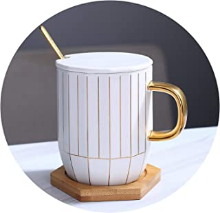 New Creative Nordic Style Ceramic Porcelain Mug with Wooden Lid and Saucer Coffee Cup Stainless Steel Metal Spoon Milk Water Mug,D