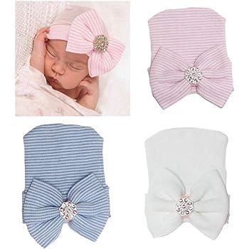WILLTOO Newborn Lovely Soft Cute Hat Bow Baby Girl Hospital Beanie Hat F