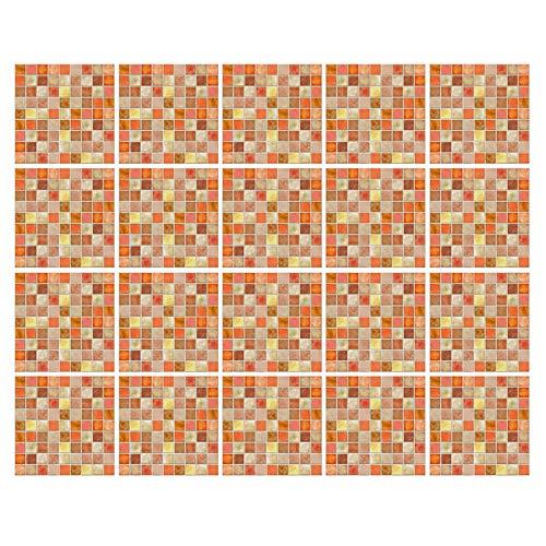 decalmile 20 Piezas Pegatinas de Azulejos 15x15cm Naranja Mosaico Adhesivo Decorativo para Azulejos Cocina Baño Decoración