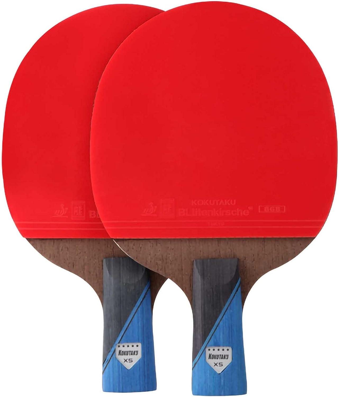 HXFENA Bate de Tenis de Mesa,Palas de Ping Pong Profesional de Entrenamiento de Carbono con Bolsa de Almacenamiento,para Actividades Familiares Y Clubes Deportivos / 5 Star/A